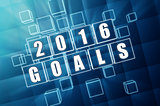 new year 2016 goals in blue glass blocks