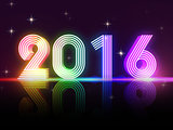 year 2016 in colored neon shining figures