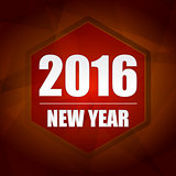 happy new year 2016 in red hexagon label