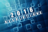 new year 2016 resolutions in blue glass blocks