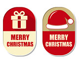 merry christmas with gift sign and red hat