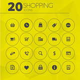 Simple thin shopping icons collection