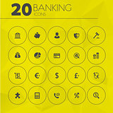 Simple thin banking icons collection