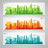 Industrial city skyline sets
