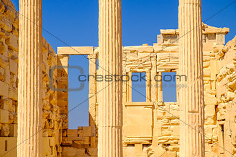 Architecture detail of Erechteion temple in Acropolis