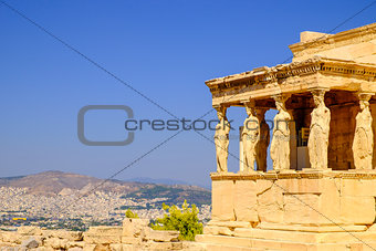 Architecture detail of ancient temple Erechteion in Acropolis