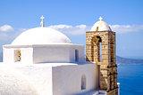 Detail of traditional Greek cycladic church in Plaka village