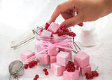 Homemade red currant marshmallows