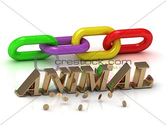 ANIMAL- inscription of bright letters and chain on