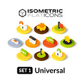 Isometric flat icons set 1
