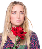 Pretty girl with red rose