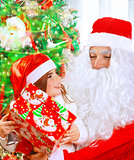 Receive present from Santa Claus