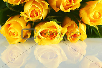 Bouquet of Yellow Roses with reflection