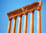 Jupiter's temple over blue sky, Baalbek, Lebanon