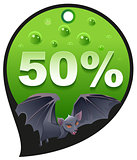 Horrible Halloween discount sale. Coupon 50 percent discount consumerism. Bat