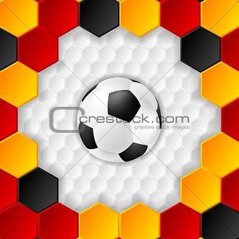Bright soccer background with ball. German colors