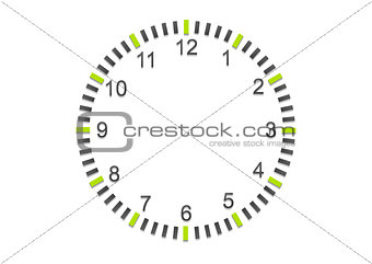 Abstract minimal clock on white wall