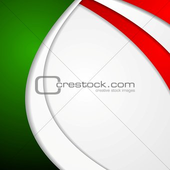Corporate wavy bright abstract background. Italian colors