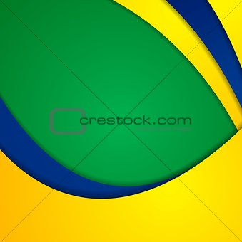 Corporate wavy bright abstract background. Brazilian colors