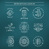 Bitcoin logo templates set. Cryptocurrency badge collection. Digital money icons. Outline coin vector design on navy background.
