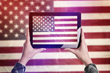 Taking Picture of USA Flag with Digital Tablet