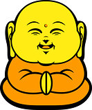 Cartoon Character Happy Buddhist Smile