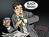 Black Friday businessman in cafe