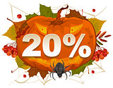 Halloween discount coupon of 20 percent. Halloween pumpkin sale
