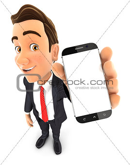 3d businessman holds smartphone