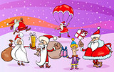 cartoon group of santa clauses