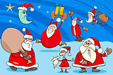santa clauses group cartoon