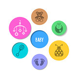 Colorful design with baby icons