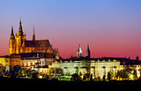Evening landscape view to Prague castle