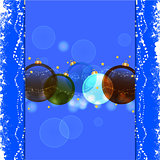 Christmas bauble blue background