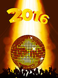New Years party background with disco ball and crowd