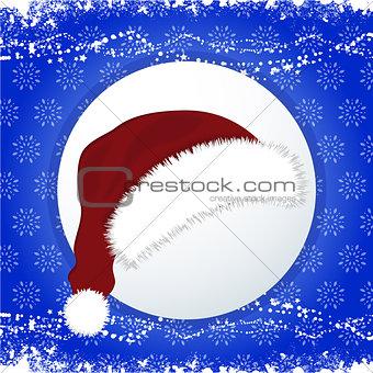 Santa Hat over festive blue background