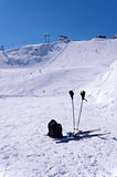 Skis, ski poles, backpack and ski lifts in Solden, Austria