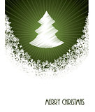 White christmas greeting with bursting christmastree from green