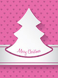 Christmas greeting with christmastree and hearts background
