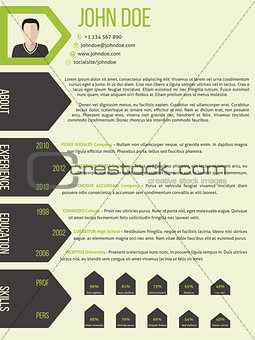 Cv resume template with arrow ribbon style