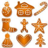 set of Christmas gingerbread cookies
