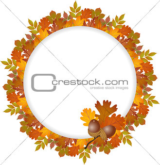 Autumn leaves round frame