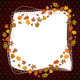 Heart frame shaped autumn leaves