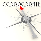 Compass with corporate word
