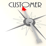 Compass with customer value word