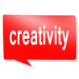 Creativity word on red speech bubble