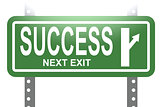 Success green sign board isolated