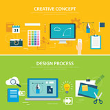 design process and creative concept banner flat design