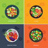 food web banner flat design. vegetarian , organic food, healthy