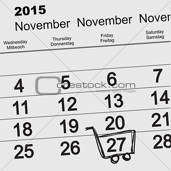 27 November 2015 Black Friday Sale. Calendar
